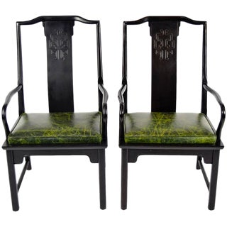 Pair of Chin Hua Asian Modern Style Chairs with Leather Seats