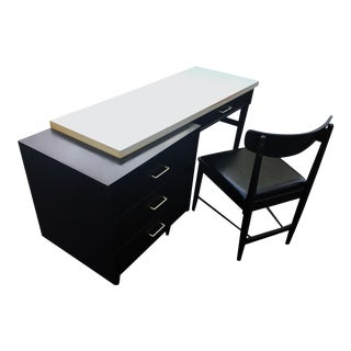 Mid-Century Modern Paul McCobb Style Black & White Desk and Chair