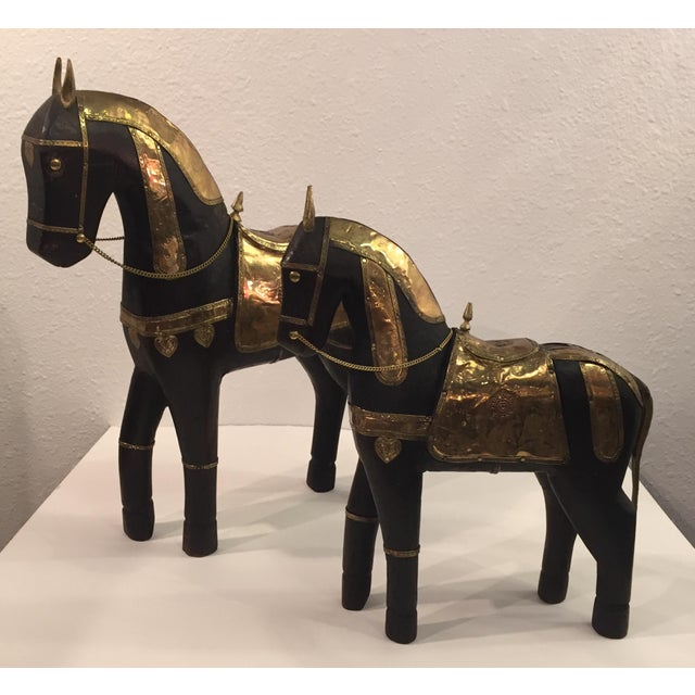 Asian Carved Wood & Brass Trojan Horse Set - Image 2 of 10