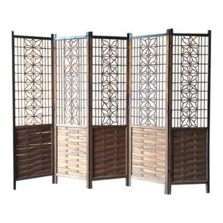 Vintage Four-Panel Wooden Room Divider