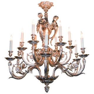 Exquisite French Louis XV Silvered Bronze Chandelier