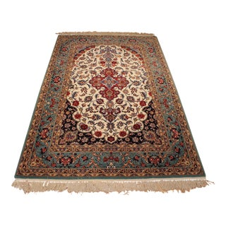 Authentic Mint Conditon Fine Persian Davari Esfahan Isfahan Silk & Wool Rug - 4' X 6'