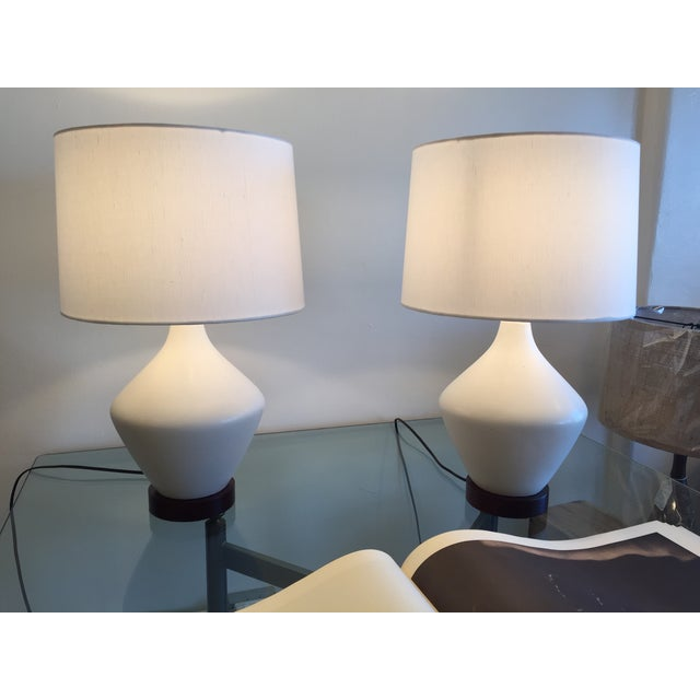 Mid-Century Ceramic Table Lamps With Shades - Pair - Image 3 of 7