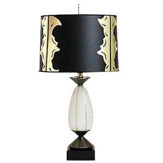 Hollywood Regency Glass Lamp w/ Shade