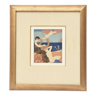 "Georges Barbier Custom Framed Pochoir from the Portfolio "" Chansons de Biilitis"""