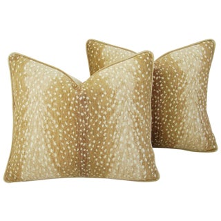 Deer Fawn Velvet Down & Feather Pillows - Pair