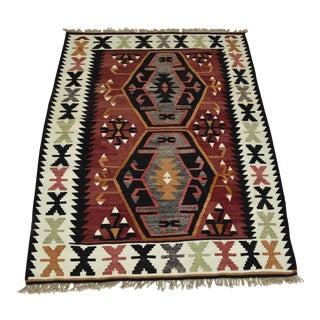Antique Turkish Tribal Hand-Woven Oushak Kilim Rug - 7.4' x 4.7'