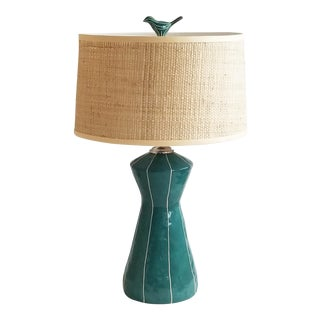 Boho Chic Space Needle Teal Ceramic Lamp