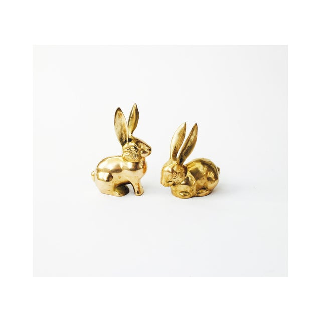 Image of Vintage Brass Rabbit Figurines - A Pair