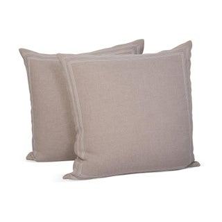 Linen Pillow Shams w/Striped Ribbon Trim - A Pair