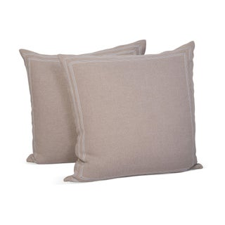 Linen Pillow Shams w/Striped Ribbon Trim - A Pair