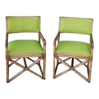 Kreiss Lime Green Bamboo Chairs - A Pair