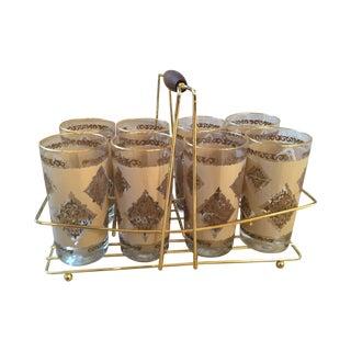 Vintage Tumblers in Caddy - Set of 8