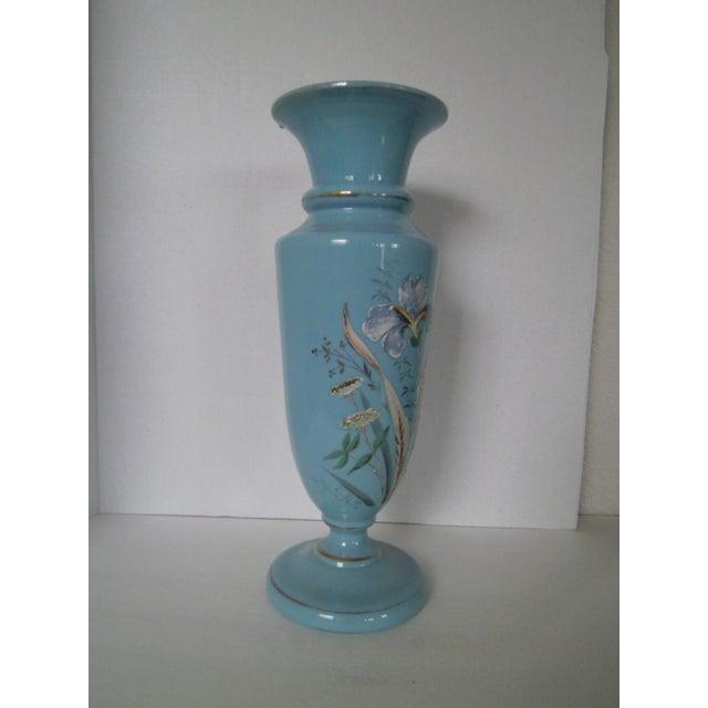 Large Robins Egg Blue Bristol Glass Vase - Image 3 of 7