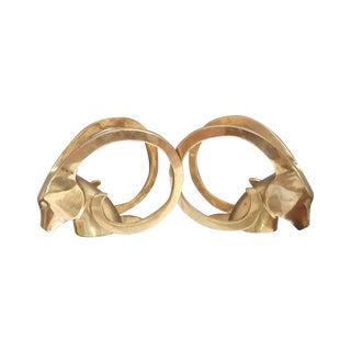 Hollywood Regency Brass Rams Head Bookend - Pair
