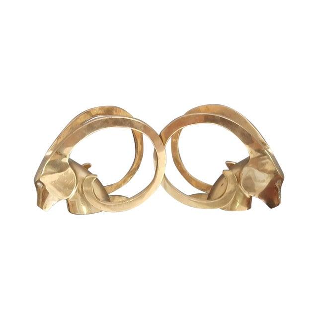 Image of Hollywood Regency Brass Rams Head Bookend - Pair