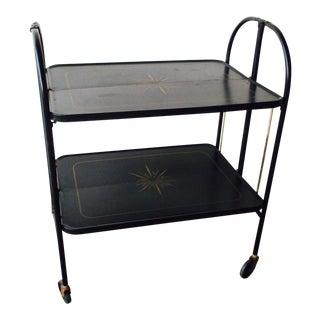 Black Vintage Rolling Folding Bar Cart