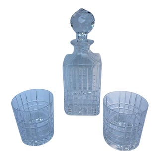 Tiffany & Co. Plaid Decanter & Old Fashion Glasses - Set of 3