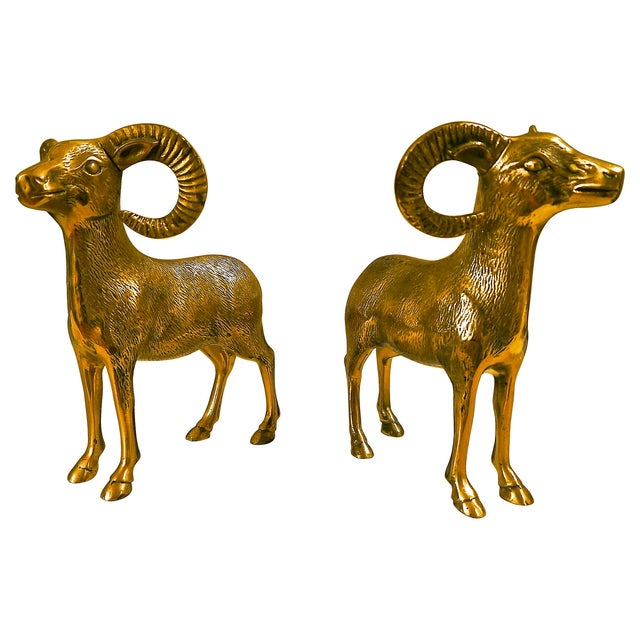 Large Brass Rams - A Pair - Image 1 of 6