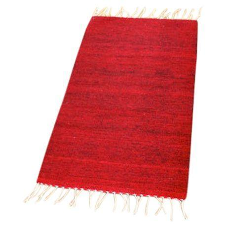 "Red-Wine Mexican Wool Rug - 2' X 3'3"" - Image 1 of 4"