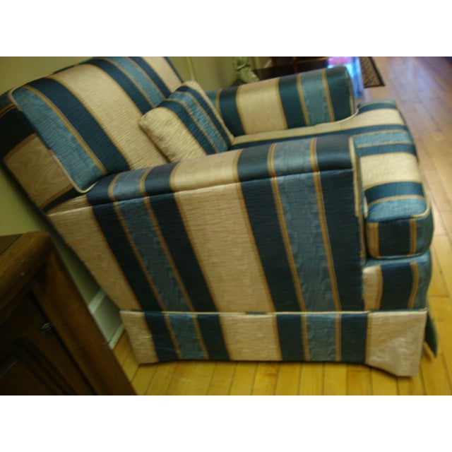 Vintage Moire Satin Armchair and Ottoman - Image 3 of 10