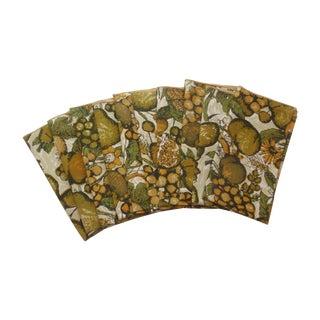 Gold Green Fruit Linen Napkins - Set of 10