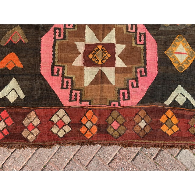 Vintage Turkish Kilim Rug - 6′4″ × 12′ - Image 7 of 10