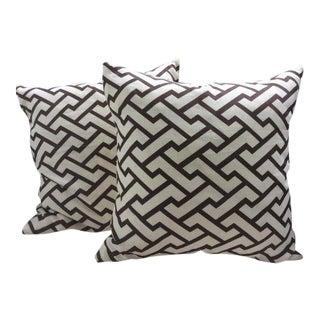 Quadrille Pillows in Deep Chocolate & Cream - a Pair