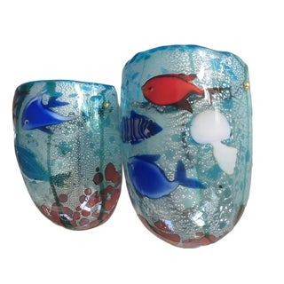 Barbini for Cenedese Murano Aquarium Glass Wall Lamps - A Pair