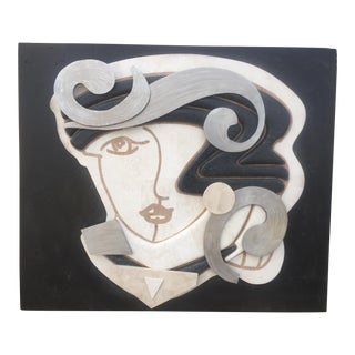 Tessellated Stone & Metal Wall Sculpture of Woman