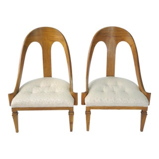 Neoclassical Style Spoon Back Slipper Chairs - A Pair