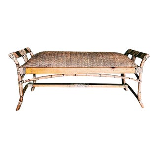 Vintage Bamboo & Rattan Bench