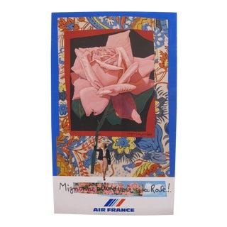 1980 Original Air France Travel Poster, Roses