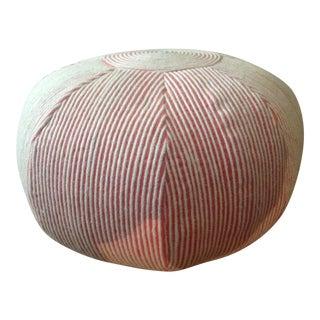 Red & White Round Textile Ottoman