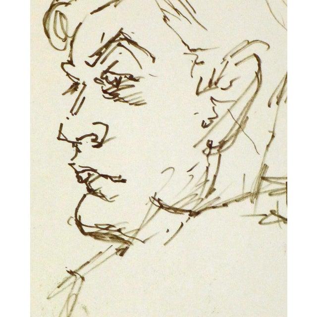 Vintage Man in Profile Ink Drawing, C. 1950 - Image 2 of 3