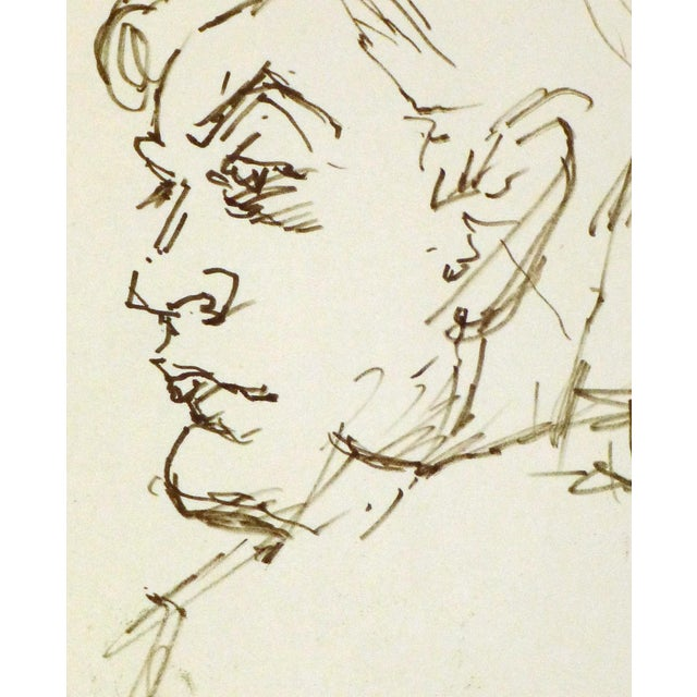 Image of Vintage Man in Profile Ink Drawing, C. 1950