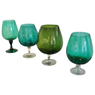Four Handblown in Multi-Green Hues Large Brandy Snifters, Vases