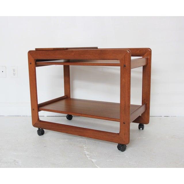 vintage mid century modern teak bar cart chairish. Black Bedroom Furniture Sets. Home Design Ideas