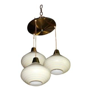 1960s Triple Art Glass Stripe Pattern Cone Shape Pendant Globe Light Fixture