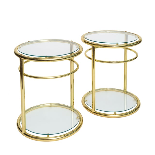 Image of Regency Gold Round Side Tables - A Pair