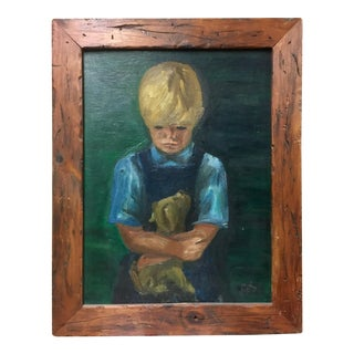 """Boy Holding a Puppy"" Oil Painting"