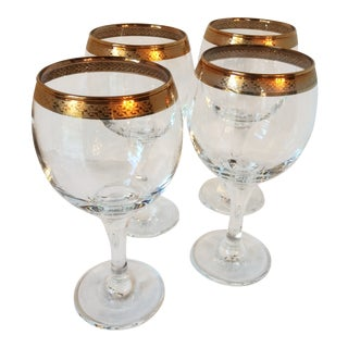 Vintage Crystal Wine Glasses With Gold Band Rim - Set of 4
