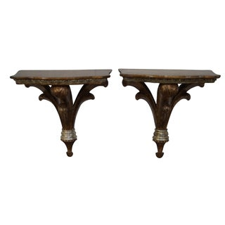 Maitland Smith Gilt Wall Shelves - Pair