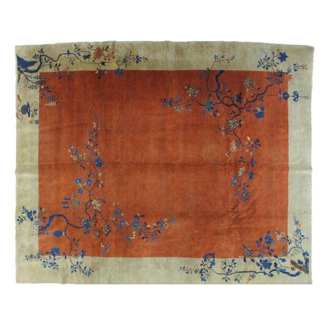 Antique Art Deco Chinese Carpet - 9′3″ × 11′4″ - Image 1 of 4