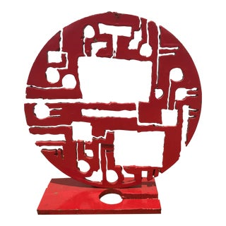 Red Metal Brutalist Sculpture