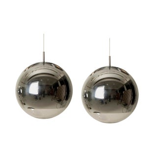 Tom Dixon Vintage Silver Globe Lights - A Pair