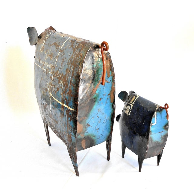 Recycled Metal Pig Sculptures - A Pair - Image 5 of 8