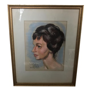 1960 John Squire Adams Oil Pastel Portrait