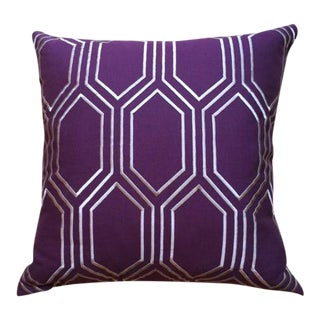 Cotton Linen Pillow with Geometric Pattern