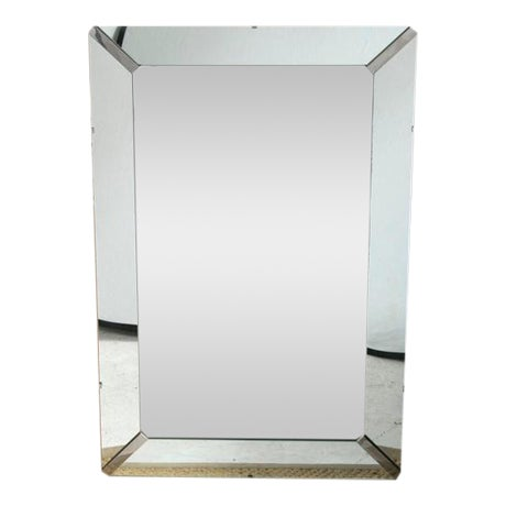 Beveled Rectangular Stepped Mirror with Chrome Accents - Image 1 of 6